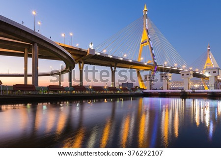 Suspension Bridge over Bangkok main river night view