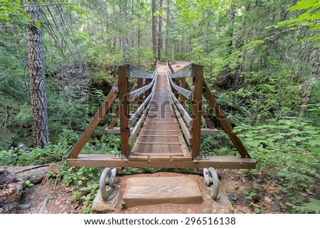 Suspension Bridge Over Falls Creek in Gifford Pinchot National Forest Hiking Trail in Washington State Front View - stock photo