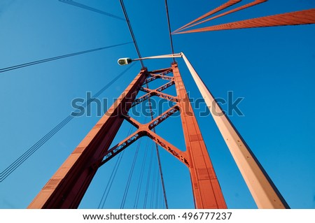 Suspension bridge pillar perspective
