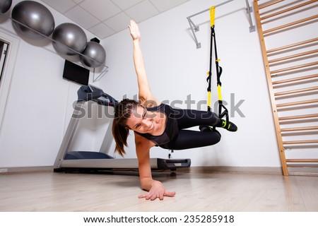 suspension fitness training - stock photo