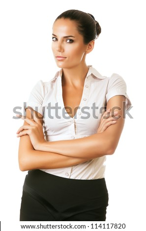 suspicious look of businesswoman on white background - stock photo