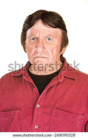 Suspicious middle aged male over white background