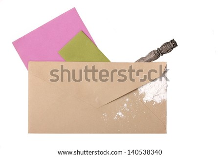Suspicious Unmarked Envelope with Ricin - stock photo