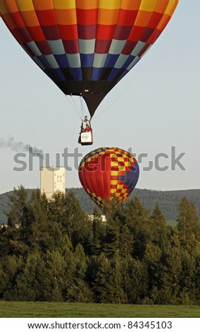 SUSSEX, CANADA - SEPTEMBER 8: Balloons fly near PotashCorp in Penobsquis at the Atlantic International Balloon Fiesta on September 8, 2011 in Sussex, Canada.