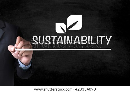 SUSTAINABILITY and Businessman drawing  Page on blackboard - stock photo