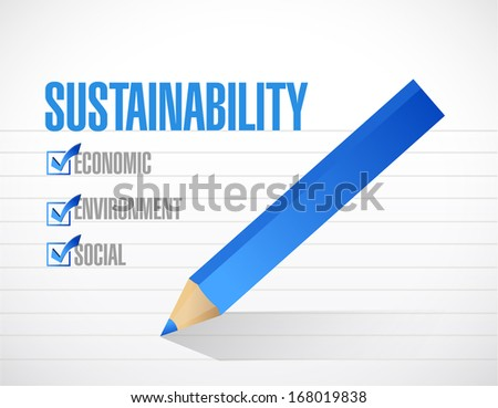 sustainability check mark list concept illustration design over a white background - stock photo