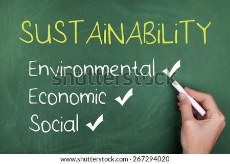 Sustainability Concept with Environmental Economic and Social Words on Chalkboard - stock photo