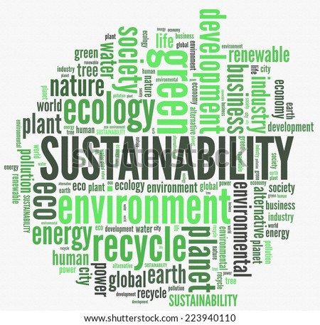 Sustainability in word collage - stock photo