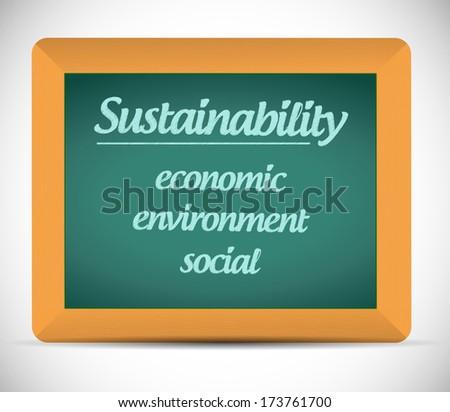sustainability life chalkboard illustration design over a white background - stock photo
