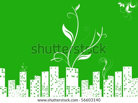 sustainable city  illustration concept - stock photo