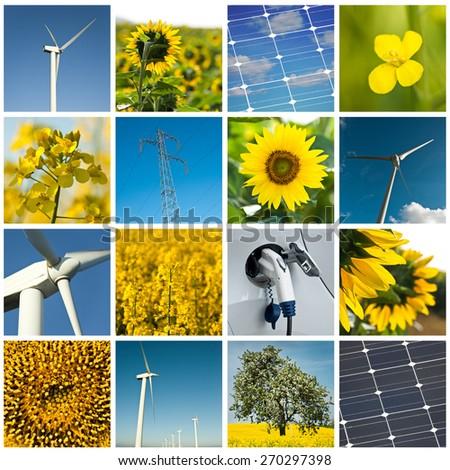 sustainable development collage - stock photo