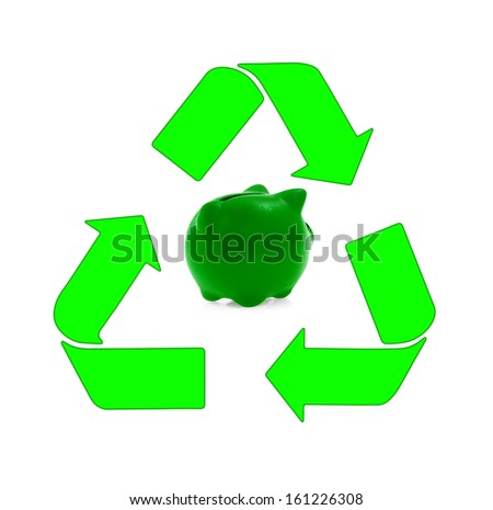 Sustainable development, renewable energy sources, recycling and piggy bank - stock photo