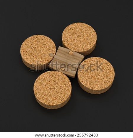 Sustainable Link | Wooden jigsaw fixing Cork Platforms - stock photo