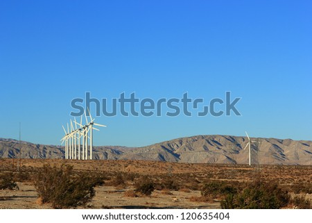 Sustainable & Renewable Electric Energy from Wind, desert mountain corridor, Palm Springs, CA - stock photo