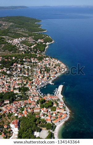 Sutivan, village on the north-west of Brac Island, Croatia, aerial view