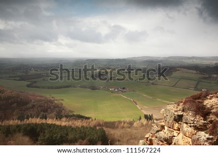 Sutton Bank view over the fields, North York Moors - stock photo