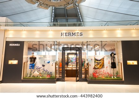 SUVARNABHUMI AIRPORT, SAMUT PRAKRAN, THAILAND - JUNE 18 ,2016 : View of Hermes shop in duty free zone of the airport. Hermes is a luxury french fashion brand.