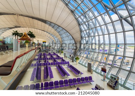 Suvarnabhumi International Airport on August 12, 2014 in Bangkok, Thailand. The airport is handling about 45 million passengers annually. - stock photo