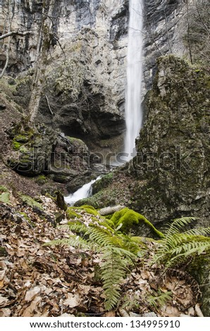 Suvcharsko Praskalo - one of the most powerful and most beautiful waterfalls in the Balkan Mountains - stock photo