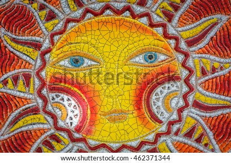 SUZDAL, RUSSIA - JULY 16, 2016: Feast of cucumber in Suzdal, mosaic with the image of the sun