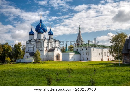 SUZDAL, RUSSIA - SEPTEMBER 08, 2014: Architectural and Museum Complex of the Suzdalian Kremlin. Kremlin - the oldest part of Suzdal. - stock photo