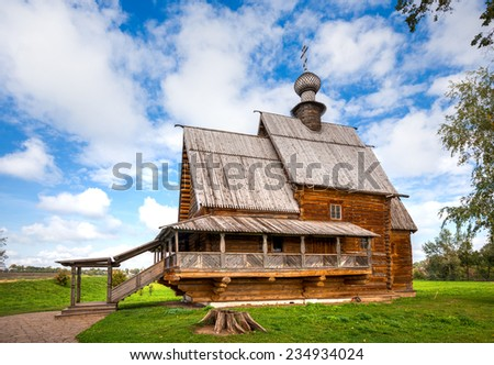 SUZDAL, RUSSIA - SEPTEMBER 08, 2014: Church of St. Nicholas from the village of Glotovo, Yuriev-Polsky district (1766). It was moved to Suzdal in 1960 - stock photo