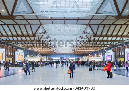 SUZHOU-NOV. 29, 2014. Waiting hall Suzhou railway station. It opened in 1908 and has been renovated in 2013. The terminal building has 5 floors, two above and 3 underground, 2th floor is waiting hall. - stock photo