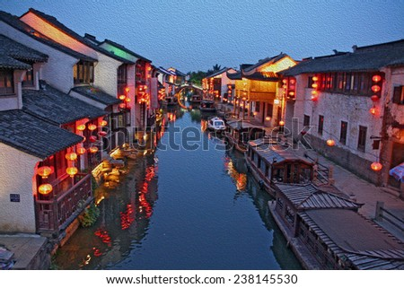 Suzhou old town in the evening, stylized and filtered to look like an oil painting  - a canal, boats, historic houses and chinese lanterns,  stylized and filtered to resemble an oil painting - stock photo