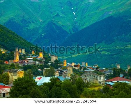 Svan towers in Mestia. Svaneti, Georgia - stock photo