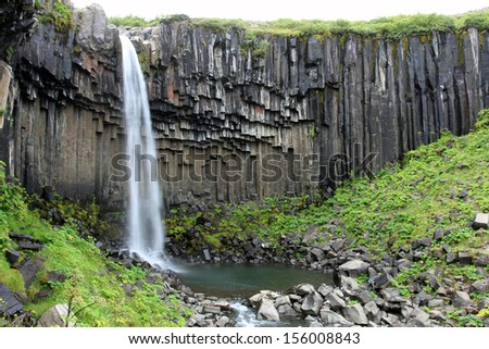 Svartifoss (Black Fall) waterfall in the Skaftafell National Park, Iceland. Long exposure.