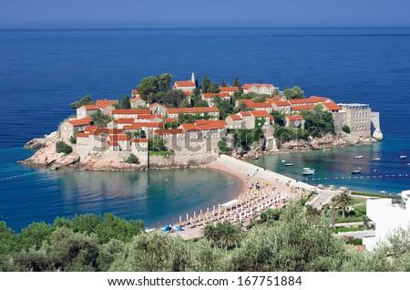 Sveti Stefan is a islet nearby Budva in Montenegro - stock photo
