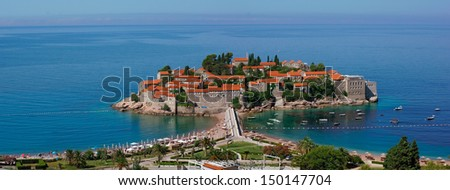 Sveti Stefan - panorama view - stock photo
