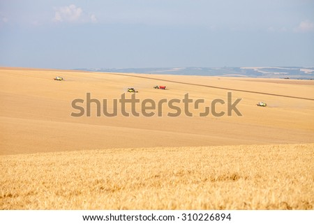 Svishtov - June 20: Agricultural landscape - harvesting wheat from large agricultural areas against the blue sky on June 20, 2015 Svishtov, Bulgaria - stock photo