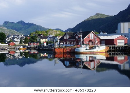 SVOLVAER, NORWAY -10 AUGUST 2016- Scenic view of the waterfront harbor in Svolvaer in summer. Svolvaer is a fishing village and tourist town located on Austvagoya in the Lofoten Islands.