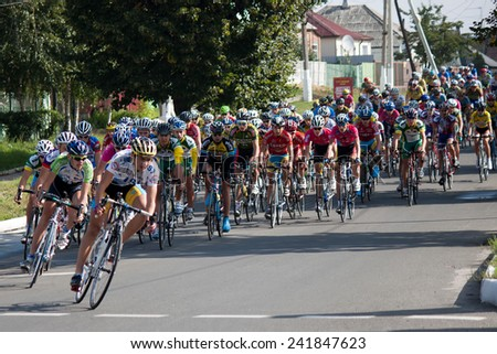 SVYATOGORSK, UKRAINE - SEPTEMBER 5, 2012: On the 3rd stage of the International Youth Friendship cycling, dedicated to the 69th anniversary of the liberation of Donbass from invaders.