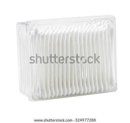 swabs cotton buds isolated on white background - stock photo