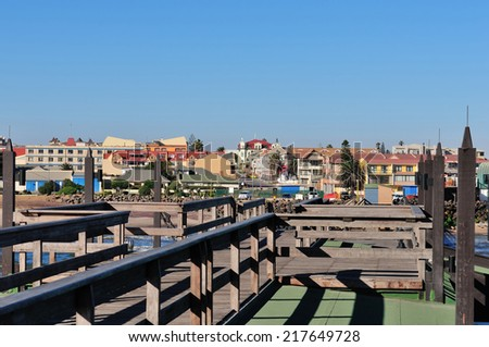 Swakopmund, Namibia from the old historic German jetty  - stock photo