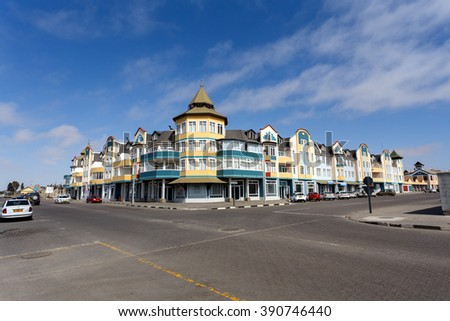 SWAKOPMUND, NAMIBIA - October 8, 2014: Colonial German architecture on stret of Swakopmund. City was founded in 1892, by Captain Curt von Francois as the main harbour of German South West Africa.  - stock photo