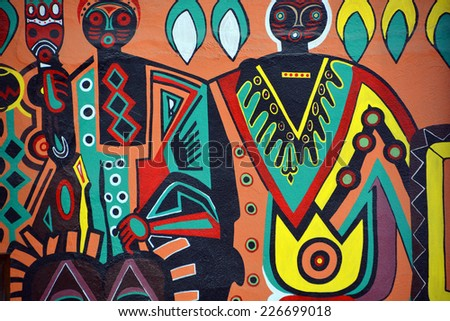 SWAKOPMUND, NAMIBIA OCTOBER 04, 2014: Mural tell the story of Swakopmund on october 04 2014  The city is situated in the Namib desert and is the fourth largest population centre in Namibia. - stock photo