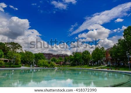 Swan Lake in Yerevan, Armenia - stock photo