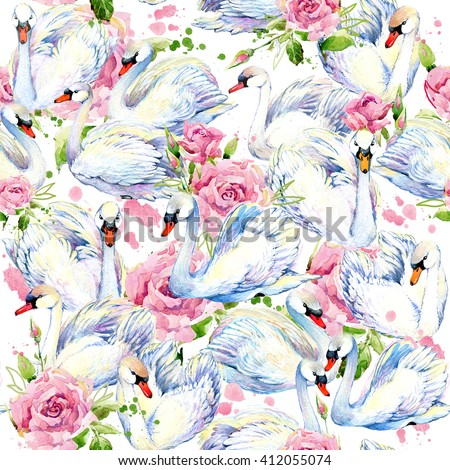 swan seamless pattern. watercolor flower roses background
