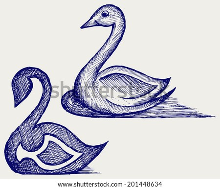 Swan sign. Doodle style. Raster version - stock photo