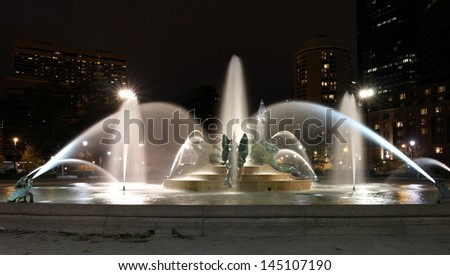 Swann memorial fountain downtown Philadelphia at night - stock photo