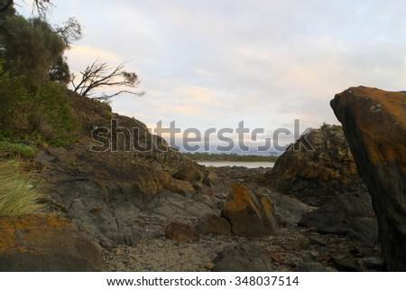 Swansea on Tasmanian east coast  part of the Freycinet trail - stock photo
