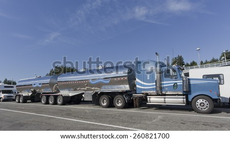 SWARTZ BAY, CANADA - AUGUST 4, 2005: Truck waiting for Ferry in Swartz Bay, Vancouver Island, British Columbia, Canada