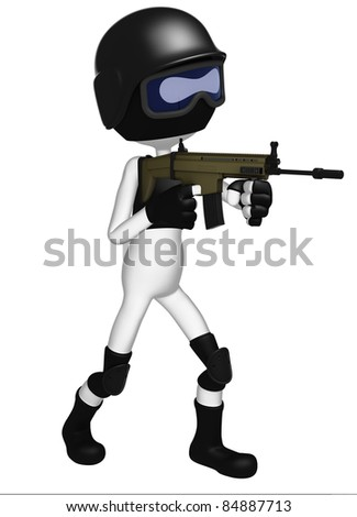 SWAT police officer with assault rifle. 3d Illustration. Isolated on white - stock photo