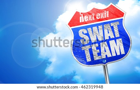 swat team, 3D rendering, blue street sign