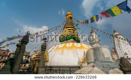 Swayambhunath or Monkey temple, Kathmandu, Nepal. The temple is protected as the UNESCO world heritage site. - stock photo