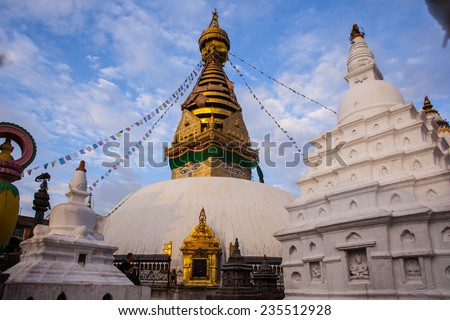 Swayambhunath Stupa taken in the capital of Nepal, Kathmandu  - stock photo