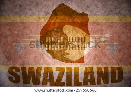 swaziland map on a vintage swaziland flag background - stock photo